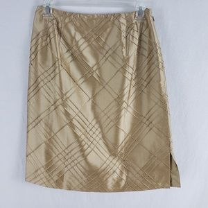 Talbots Pencil Skirt Gold Satin Bandless Waist